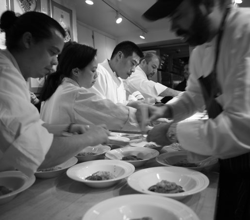 chefs in the James Beard House kitchen