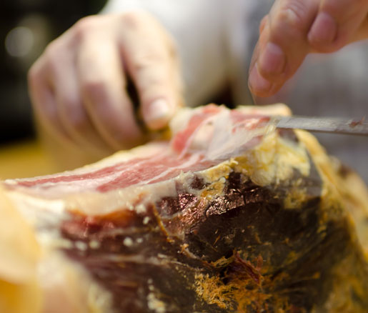 slicing ham at the James Beard House