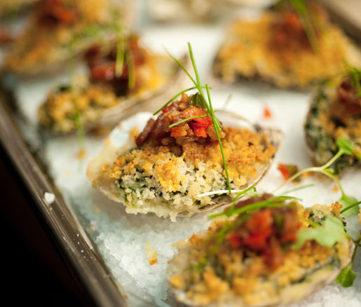 Baked oysters, prepared by the Quality Eats team at the James Beard House