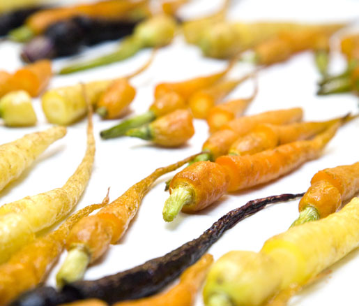 Roasted carrots in the James Beard House kitchen