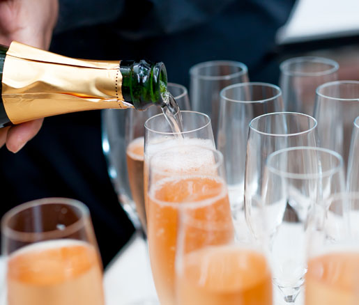 Pouring sparkling wine at the James Beard House
