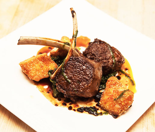 Roasted Lamb Chops with Crunchy Polenta and Smoked Chiles