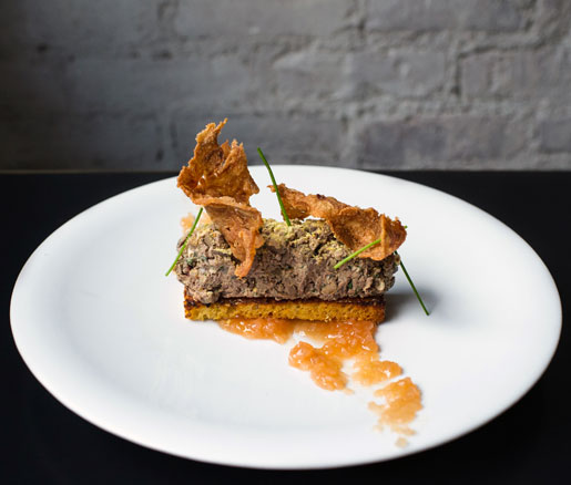 Chicken Liver Toast with Cornbread, Grapefruit Marmalade, and Chicken Skin from Alder in New York City