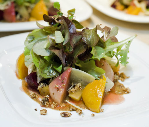 Recipe: Baby Beet Salad with Marcona Almonds, Pickled Oranges, Idiazabal Cheese, and Blood Orange Vinaigrette
