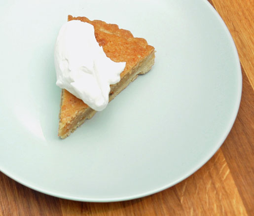 Cynthia DePersio's recipe for Pignoli Tart with Mascarpone Crema, adpated by the James Beard Foundation