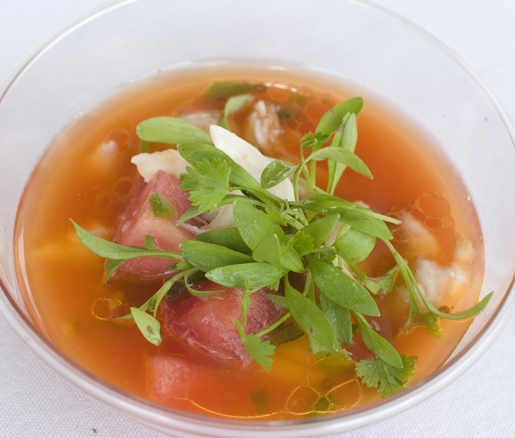 Watermelon Soup and Jumbo Lump Crab Salad