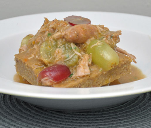 Thomas Giudice's recipe for braised rabbit with grapes, tarragon, and porcini polenta, adapted by the James Beard Foundation