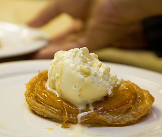 Recipe for peach tarte tatin, courtesy of the James Beard Foundation