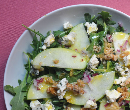 Recipe for candied walnut–apple salad with lemon vinaigrette, adapetd by the James Beard Foundation