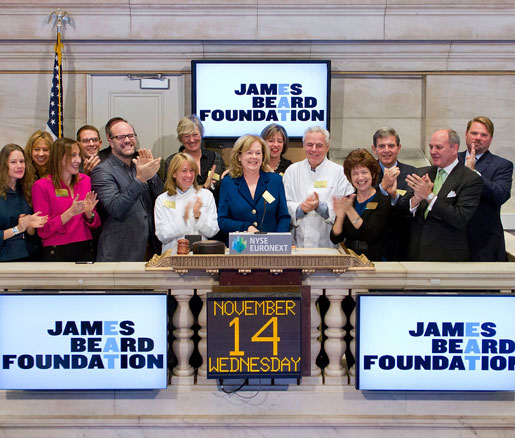 JBF president Susan Ungaro rings the New York Stock Exchange bell