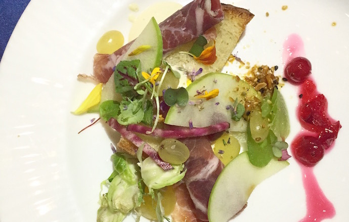 Matt Jennings's Vegetables and Fruits with Coppa, Smoked Pork Fat and Malt Vinegar Emulsion