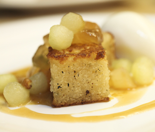 Pastry chef Sarah Jordan's brown butter cake with caramelized apples and sour beer caramel