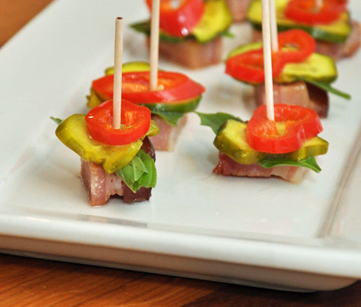 Recipe for Bacon Confit with Chiles and Pickles, adapted by the James Beard Foundation