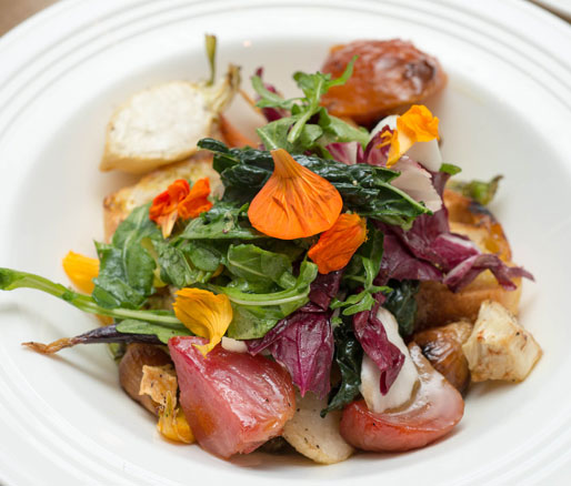 Roasted Baby Root Vegetables with Grilled Bread, Fall Greens, and Bagna Cauda Dressing