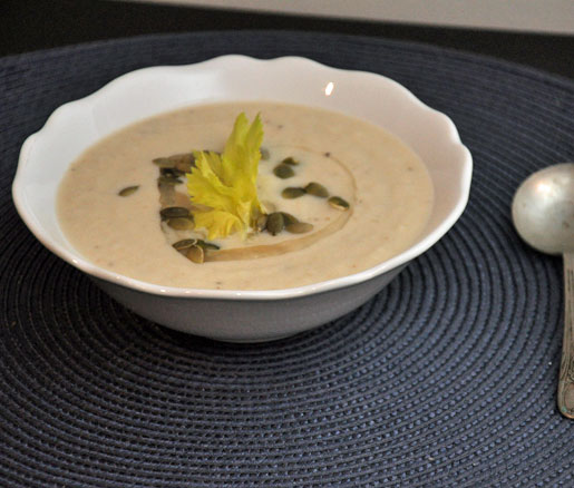 Celery Root Soup with Pumpkin Seeds and Celery Leaves