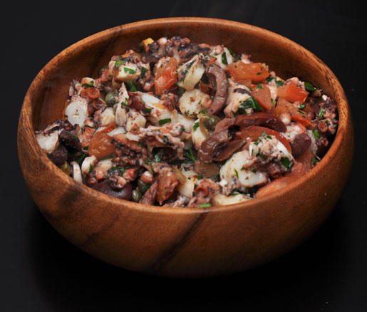 Recipe for Braised Octopus Salad with Capers and Preserved Lemon, adapted by the James Beard Foundation