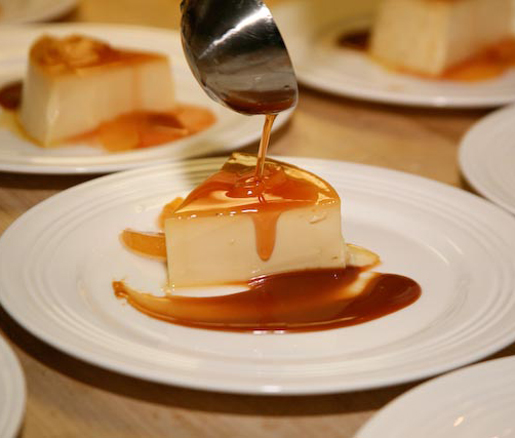 Andrea Lekberg's recipe for sage custard with coffee caramel and plum sauce, adapted by the James Beard Foundation