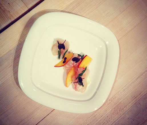 Kelp-Cured Halibut with Bull Kelp, Nectarines, Noyaux, and Sea Beans