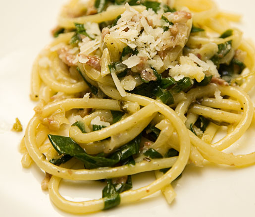 Recipe for Bucatini with Ramps and Pancetta, adapted by the James Beard Foundation