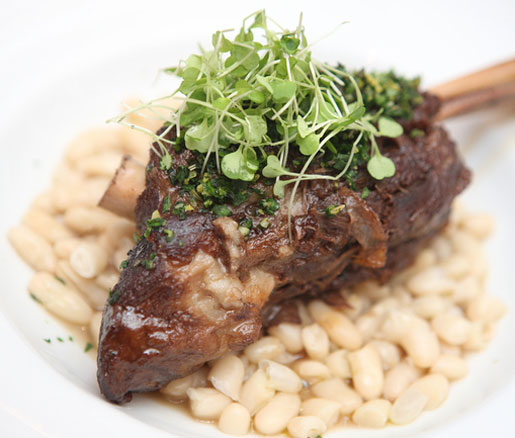 Adam Mali's recipe for Braised Lamb with Cannellini Beans and Lavender–Mint Gremolata. adapted by the James Beard Foundation