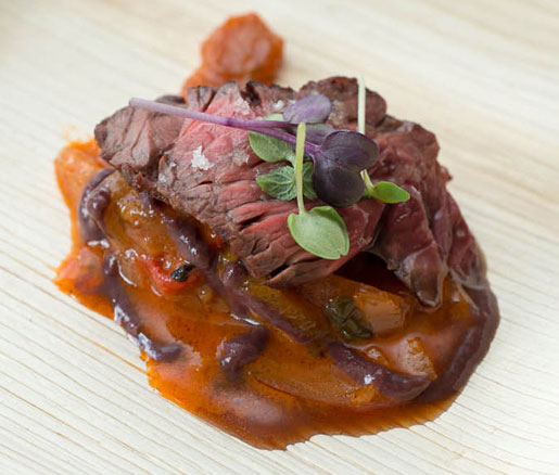 Grilled Hanger Steak with Peperonata