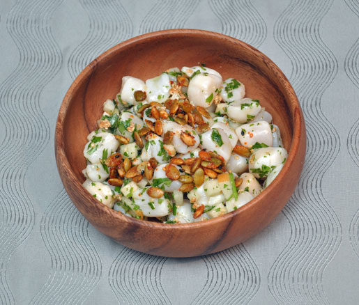 Recipe for scallop ceviche with pumpkin seeds and Asian pear, adapted by the James Beard Foundation