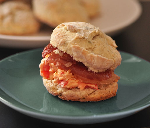 Recipe Herbed Biscuit Sandwiches with Pimento Cheese and Prosciutto
