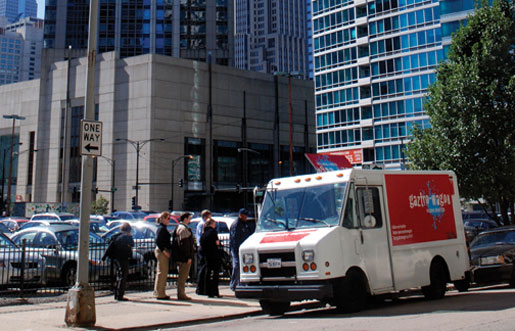 Chef Matt Maroni's food truck, the Gaztro-Wagon, parked in downtown Chicago