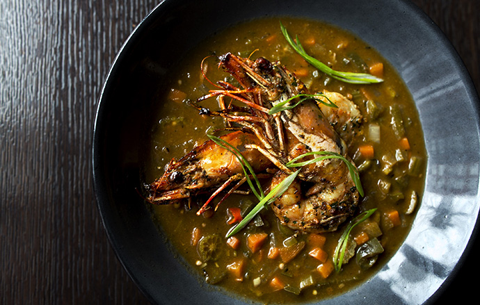 Moqueca > Smoked Fish with Okra, Prawns, Shrimp, and Carolina Gold Rice (Photo by Lindsay Talley)