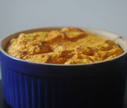 Pumpkin Soufflé with Parma Ham Chips