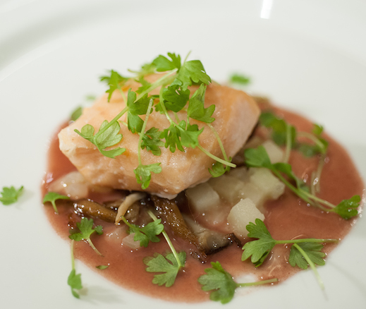 Skuna Bay Salmon Confit with Roasted Apples, Onions, and Beurre Rouge