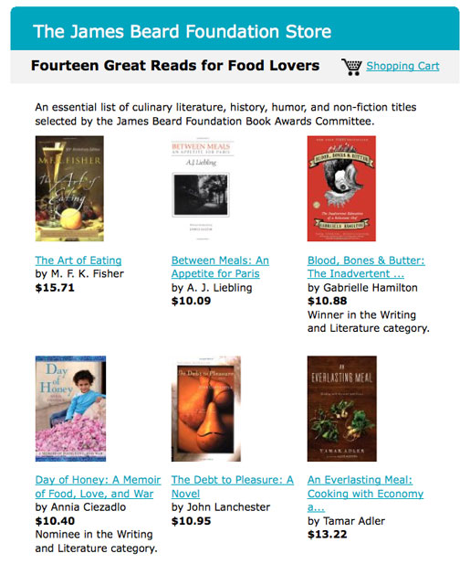An essential list of food writing curated by the James Beard Foundation Book Awards Committee