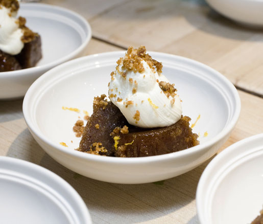 Sticky Date Pudding with Mascarpone, adapted by the James Beard Foundation