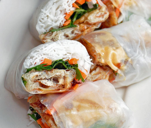Recipe for Softshell Crab Summer Rolls, adapted by the James Beard Foundation