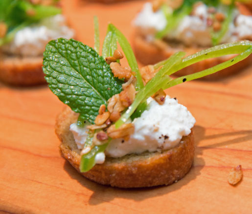 Recipe for Ricotta, Sugar Snap Pea, and Pine Nut Granola Crostini from Il Buco Alimentari & Vineria's Justin Smillie