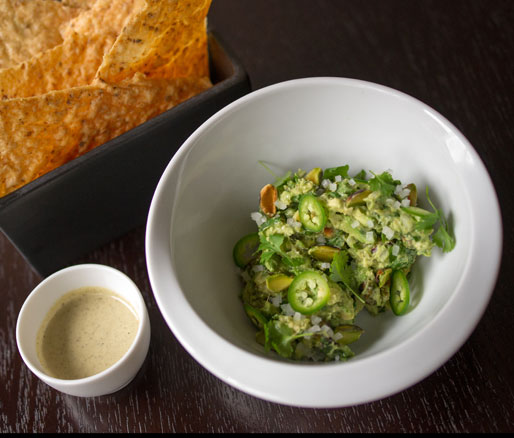 Alex Stupak's recipe from guacamole with pistachios, adpated by the James Beard Foundation