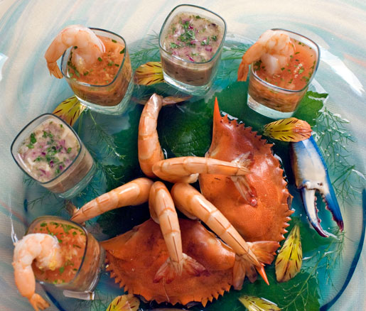 Jeremiah Tower's shrimp and oyster shooters