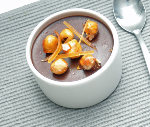 Recipe for Chocolate Budino with Candied Hazelnuts and Grapefruit, adpated by the James Beard Foundation