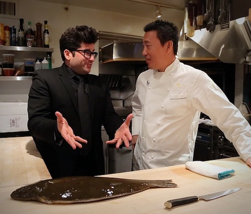 Billy Harris and chef Akira Back in the Beard House kitchen