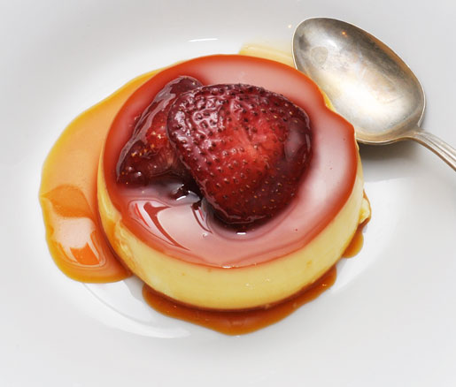 Recipe for Vanilla–Pisco Flan with Roasted Strawberries
