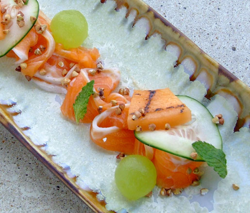 Cucumber-cured Arctic char with melon, mint, and kasha from Eventide Oyster Co. in Portland, Maine