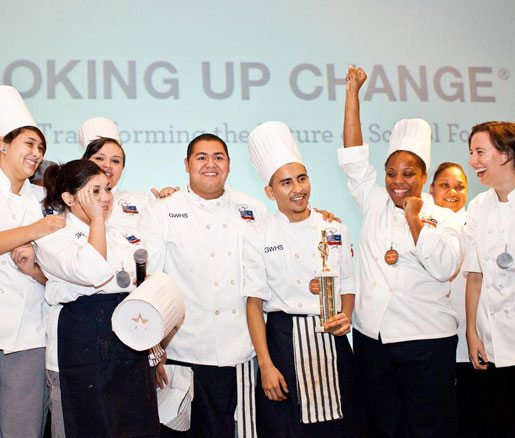 Winning students at the Chicago Cooking Up Change qualifier