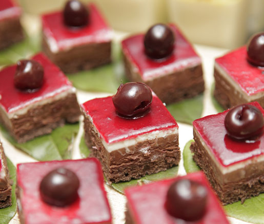 Miniature Black Forest cakes.