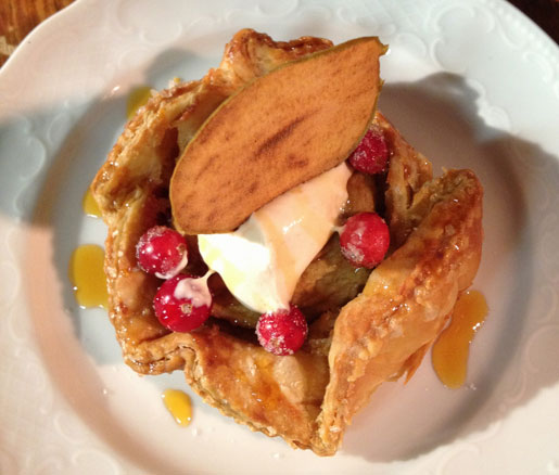 Apple–Cranberry Crostata with Cinnamon Crème Fraîche and Candied Cranberries  from Flour Bakery, Boston