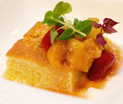 Cornbread with Yogurt, Stone Fruit, and Basil