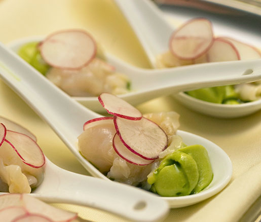 A geoduck, radish, and avocado canapé at the Beard House