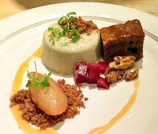 Berkshire Honey–Roasted Pears with Bayley Hazen Blue Panna Cotta and Black Walnut Cake at the James Beard House