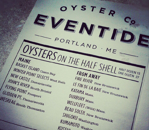 The oyster menu at Eventide in Portland, Maine