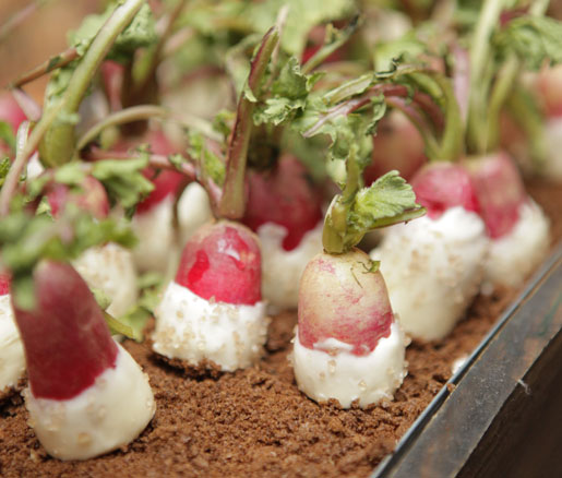 Chef Victor Cruz's buttered radishes with sea salt.