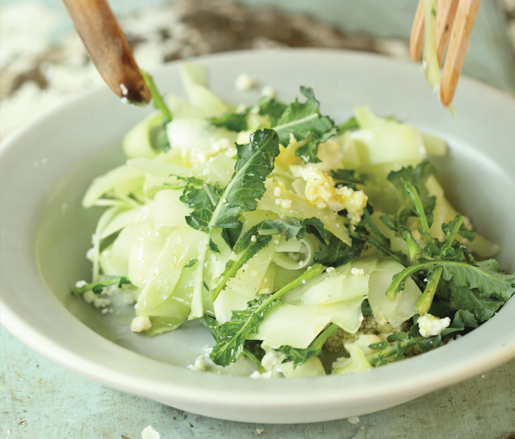 Shaved Broccoli Stalk Salad with Lime and Cotija